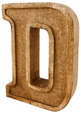 Hand Carved Wooden Ornament Decoration Rustic Shabby Chic Antique Style Letter D