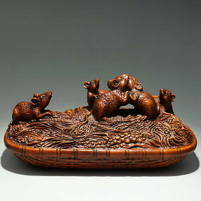 Collectable China Old Boxwood Hand-Carved Lovely Mouse Ate Corn Delicate Statue