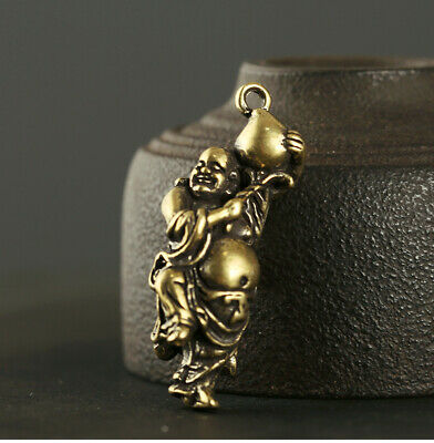 Collectable China Old Bronze Hand-Carve Happy Buddha Moral Auspicious Pendant