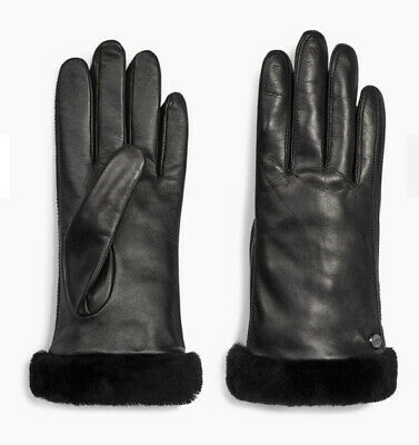 New Ugg CLASSIC LEATHER SHORTY TECH GLOVE Black Sz L