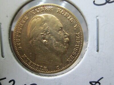 1873 German Prussian 10 Marks Gold Coin In Extra Fine Condition