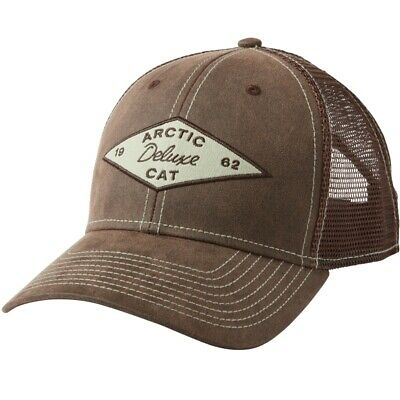 Arctic Cat Waxed Cotton Hook-and-loop Closure Mesh Back Cap - Brown - 5293-749