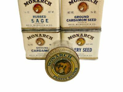 1920s MONARCH Peanut Butter TINY SAMPLE JAR Tin Lid African Lion