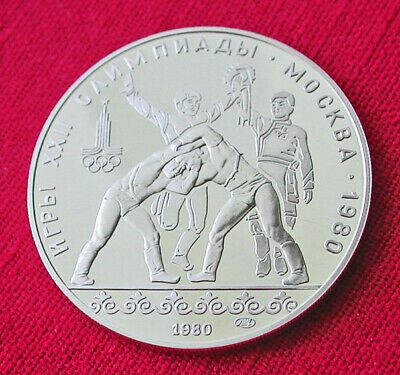 1980 Moscow Olympics silver 10 rouble coin - wrestling - mirror proof