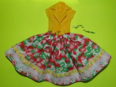 Yellow Strawberries  Dress For Barbie Vintage Doll Reproduction Repro, ooak,new