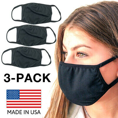 3-Pack Reusable Washable Double Layer Cotton Breathable Face Mask MADE IN USA