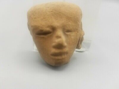 Ancient Small Fragmentary Pre-Columbian Head Fragment Of A Statuette