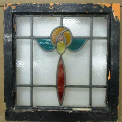 "OLD ENGLISH LEADED STAINED GLASS WINDOW Colorful Flower 18.5"" w x 18.75"" h"