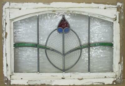 "OLD ENGLISH LEADED STAINED GLASS WINDOW Arch Top Floral 24.25"" x 18.75"""