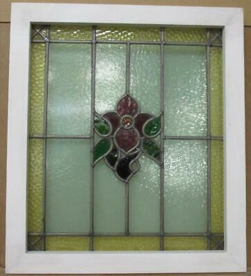 "MIDSIZE OLD ENGLISH LEADED STAINED GLASS WINDOW Lovely Flower 21.5"" x 24.25"""