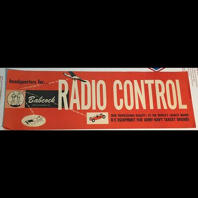 Orig vintage 1950s-60s Babcock Radio Control toy cars planes boats RETAIL SIGN
