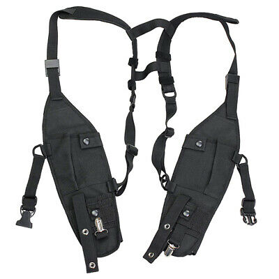 Chest Harness Black Front Pack Pouch Holster Vest Rig For Two-Way Walkie Talkie