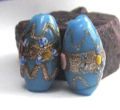 "2 Rare Amazing Old Blue Oval Fancy Venetian ""Wedding Cake"" Antique Beads"