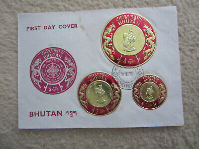 Bhutan, King Jigme Singye Wangchuk 20th Birthday, 1, 2 und 4 Nu,  FDC , 1975