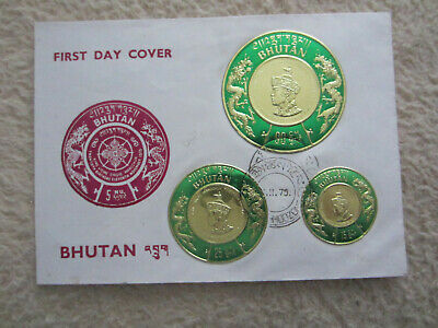 Bhutan, King Jigme Singye Wangchuk 20th Birthday, 15, 25 und 90 CH,  FDC , 1975
