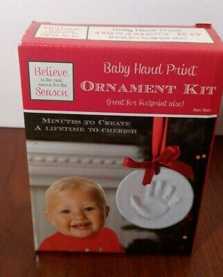 Baby hand print ornament kit family 74755299055