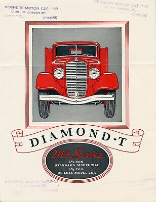 Original 1934 Diamond T 211 A Series Truck Sales Brochure Booklet Catalog - 1934