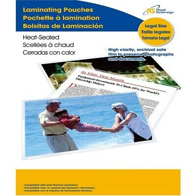 Royal Sovereign Thermal Laminating Pouches, 3 Mil, Legal Size 14.25  x 8.75 x 0.