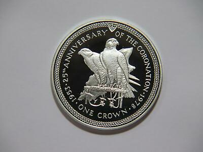 Isle Of Man 1978 One Crown Falcons Qeii Coronation Proof Silver World Coin 🌈⭐🌈