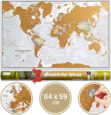 Scratch the World® Travel Map - Scratch Off World Map Poster with Gift Tube - -