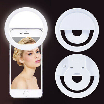 Selfie LED White Ring Light Flash Clip Camera Adjustable Brightness For Phone