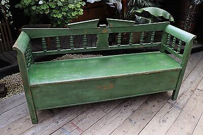Genuine Old Pine/ Green Painted Hungarian Box/ Storage Bench/ Settle-We Deliver!