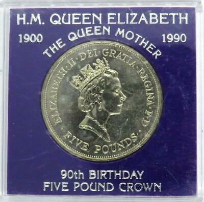 1900-1990 Queen Mother 90th Birthday Commemorative £5 Five Pound Coin - Cased