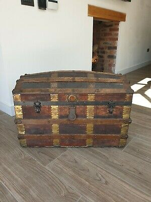 Antique Travel Chest, Luggage, Trunk- Very Old - No reserve