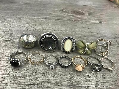 Costume Jewelry Rings Lot Silver Tone Sparkles