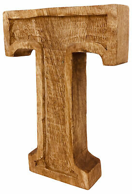 Letter T Hand Carved Wooden Ornament Decoration Rustic Shabby Chic Antique Style