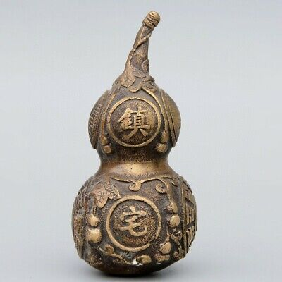 Collect China Old Bronze Hand-Carved Cucurbit Moral Exorcism Auspicious Statue