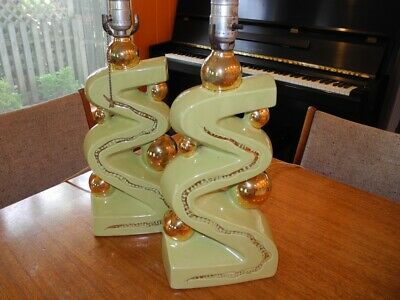 Vintage 1950's Mid Century Ceramic Atomic Pair of Table Lamps Green With Gold