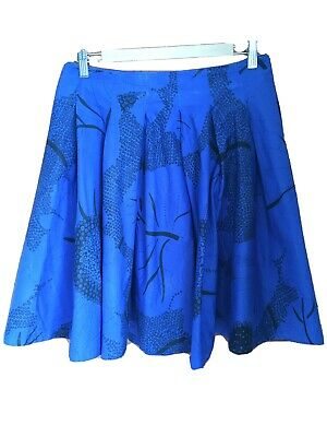 French Connection Flare Skirt Electric Blue Size 10 (fits 10 To 12)