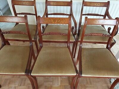 Set Of 6 Antique Regency Style Dining Chairs Back Twist & Inlay