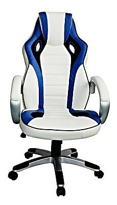 Designer racing sport gaming high back luxury leather home office chair blue/wh