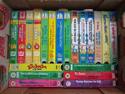 Lot of 20 Dr. SEUSS Vintage VHS Tapes Hi Fi Sing Along Grinch Cat Horton Yertle