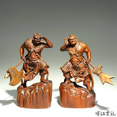 Collectable Handwork China Ancient Boxwood Carved two Buddhism Exorcism Statue