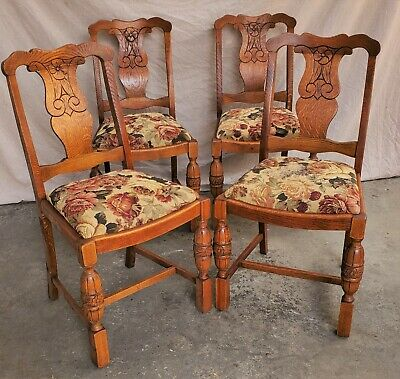 Set of 4 English Tiger Oak Floral Carved Dining Chairs 1930s Reglued Refinished