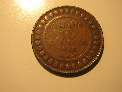 TUNISIA 1916 10 centimes coin