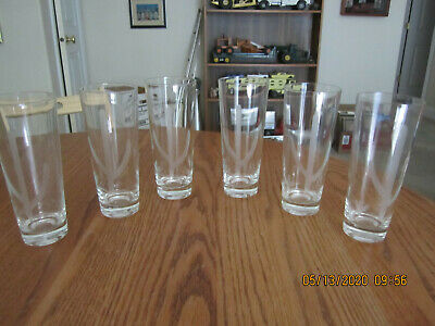 Vintage Blakely Gas & Oil Arizona 6 Clear Cactus Etched 12 oz Glasses