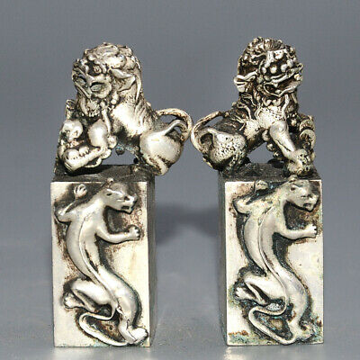 Collect China Old Miao Silver Hand-Carved Myth Lion Moral Exorcist A Pair Statue