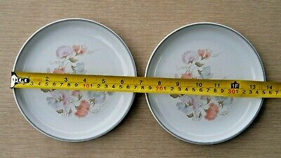 EXCELLENT USED CONDITION DENBY ENCORE /  DAUPHINE TEA PLATES x 2  SWEET PEA