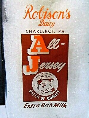 RARE vintage ROBISON'S DAIRY CHARLEROI PA. ALL JERSEY glass dairy MILK BOTTLE