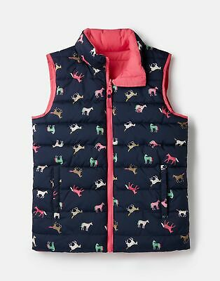 Joules Girls Croft Reversible Gilet  - PINK MULTI HORSE Size 1yr