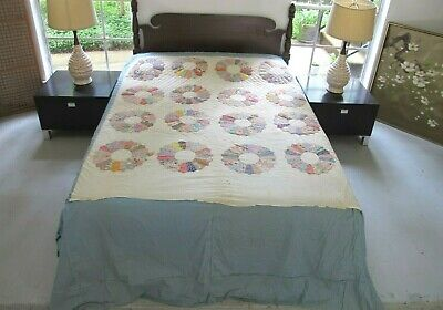 UNFINISHED Vintage Feed Sack Applique DRESDEN PLATE Quilt, NICE Prints; QUEEN