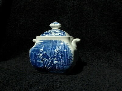 Vintage Liberty Blue Sugar Bowl & Lid: Betsy Ross Historic Colonial Scene