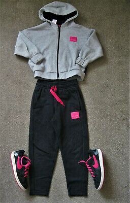 Girls  Adidas Tracksuit & Nike Trainers 13.1/2. 6-7yrs. Grey/black/pink.