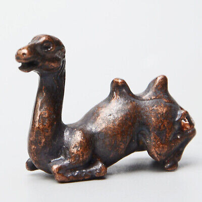 Collectable China Old Red Copper Hand-Carved Lovely Camel Delicate Decor Statue