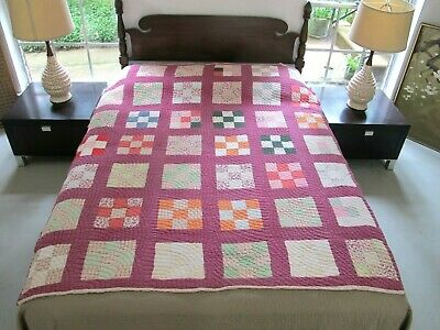 Vintage Hand Pieced & Quilted In Baptist Hat Pattern Feed Sack NINE PATCH Quilt
