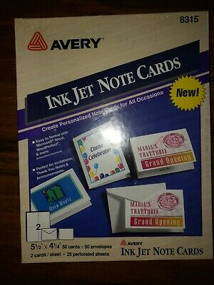 Avery Note Cards for Inkjet Printers 4 1/4 x 5 1/2 White 50/Pack